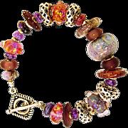OOAK Custom and Lampwork Beads, Amethyst, Sugalite Sterling Bracelet