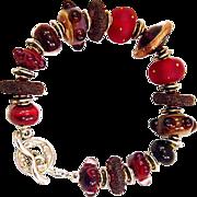 OOAK Davison Art Glass and Custom Beads Sterling Bracelet