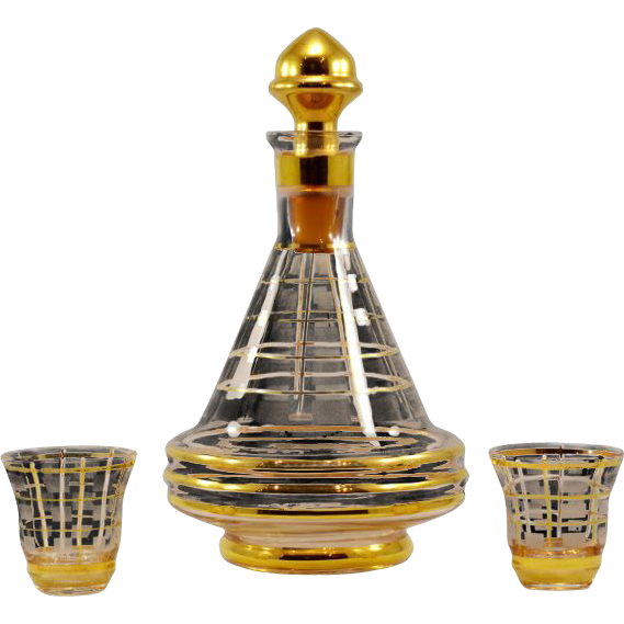 "So-Chic ""Eames Era"" Vintage Glass and Decanter Set"