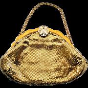 Vintage Whiting & Davis Goldtone Mesh Bag Rhinestone Clasp