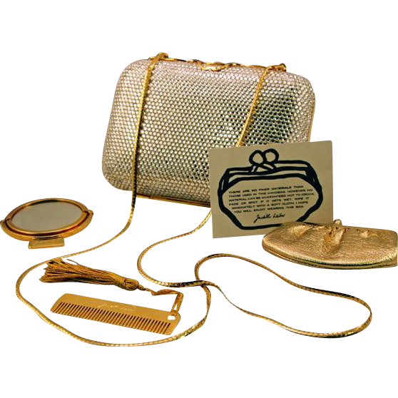 Classic Judith Leiber Silver Rhinestone Minaudiere Clutch with Accessories and Original Dust Bag