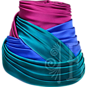Classic Schiaparelli Silk Pink, Blue and Teal Turban