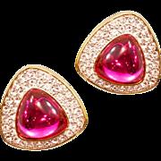 "Sparkling Vintage Rare Swarovski ""S.A.L."" Original Rhinestone Earrings"