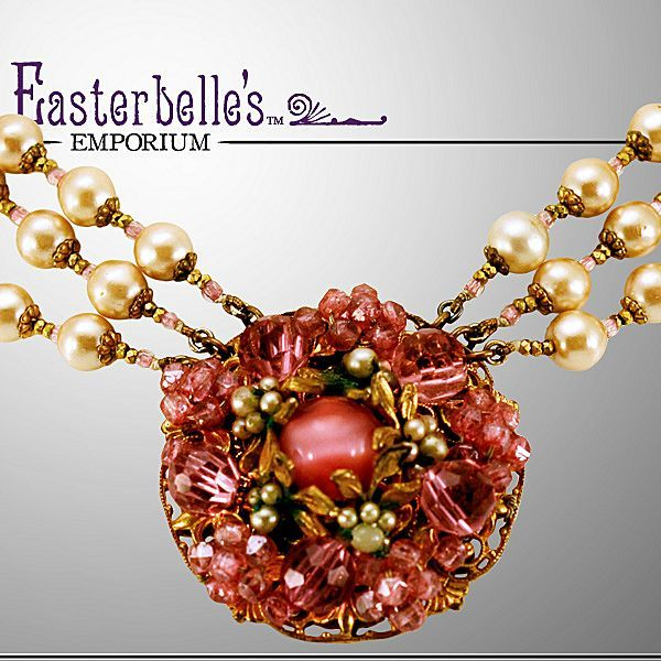 Wonderful Miriam Haskell Three-Strand Necklace with Faux Pearls