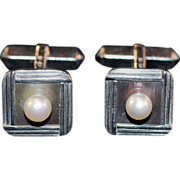 Sterling Set Mikimoto Cultured Pearl and MOP Cufflinks in Original Box