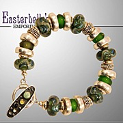 SALE PENDING OOAK Davison Custom Lampwork Beads, Sterling, Custom Toggle