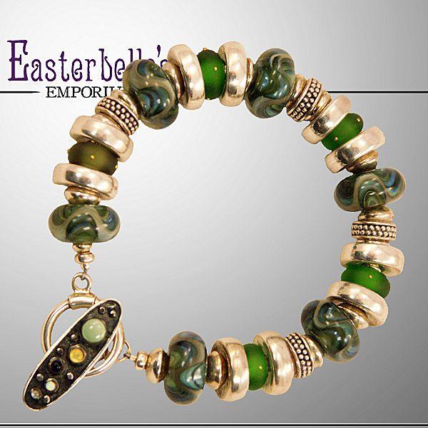 OOAK Davison Custom Lampwork Beads, Sterling, Custom Toggle