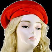 Vintage Beret Style Red Velvet Hat