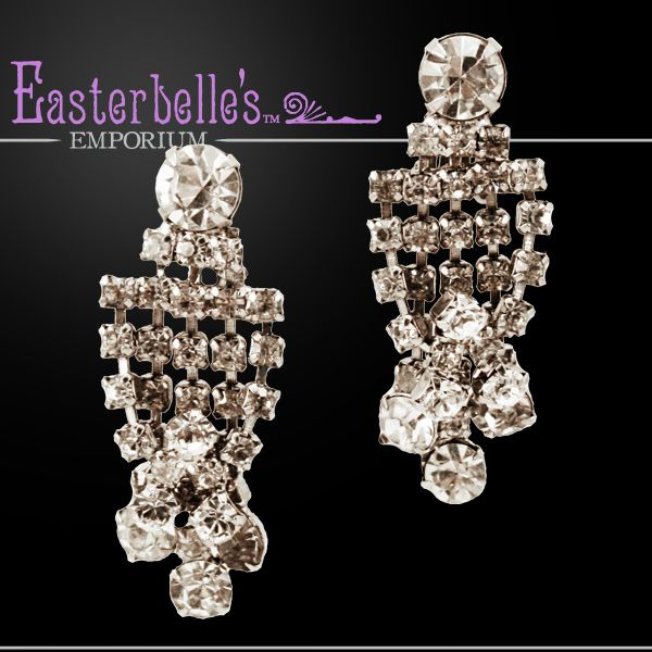 Sparkling Brilliant Clear Rhinestone Clip Earrings