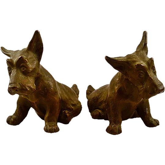 Vintage Bronze-Clad Plaster Scottie Dog Bookend Set