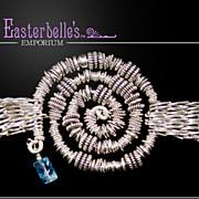 Spectacular OOAK Davison Sterling Silver and Blue Topaz Bracelet