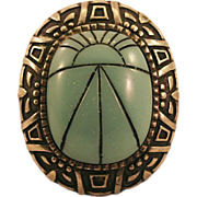 Big Bold Hobe Scarab Brooch with Thermoplastic Green Cabochon