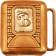 """SOLD Hickok Bronze Company """"B"""" Belt Buckle - Bronze and Sterling Silver Inset"""