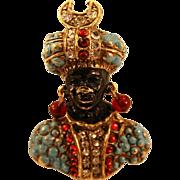 """Unique Coro Blackamoor """"Prince"""" Brooch Highly Decorated"""