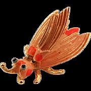 Vintage Hattie Carnegie Shocking Pink Insect Trembler Brooch