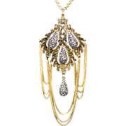 Hattie Carnegie Signed Brass Chain Pendant Necklace