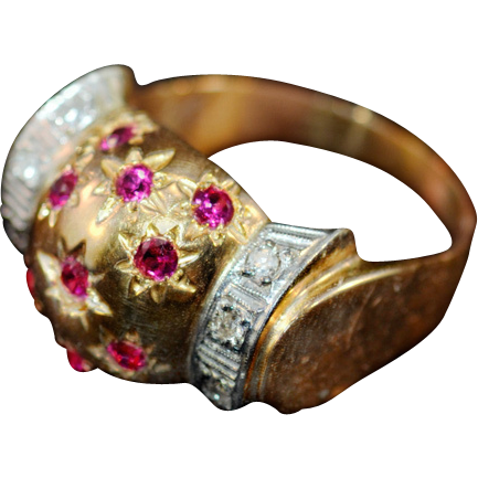 Show Piece 18K Gold 8 Diamonds and 11 Lab Grown Rubies Ring
