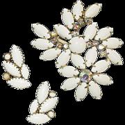Elegant Milk Glass and Rhinestone Brooch and Earrings Set
