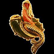 Whimsical Vintage Thermoplastic Mermaid Brooch Rhinestones and Enamel
