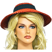 Cherry-Red Straw Hat with Blue Ribbon