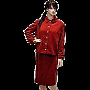 Show Stopper Rare I. Magnin Ruby Red Velvet Jacket and Dress