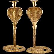 "Hollywood Regency Pair of Brass Cobra Candlesticks - 13+"" TALL"