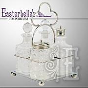 ca 1908 Glass & Nickel-Silver Cruet Set
