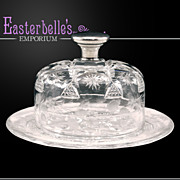 VERY Rare Meriden American Brilliant Butter Dish With Wilcox Sterling Finial