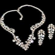 Head Turning Schiaparelli Sparkling Rhinestones Earring and Necklace Set