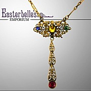 ca 1910  EA Bliss Pendant Brass Necklace with Multi Colored Glass Accent Stones