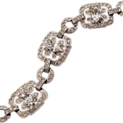 High-Drama ca 1920s Rhinestone Bracelet With Sensational Sparkle