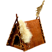 "Vintage Folk Art ""A"" Frame Tee Pee Bark, Wood & Rabbit"