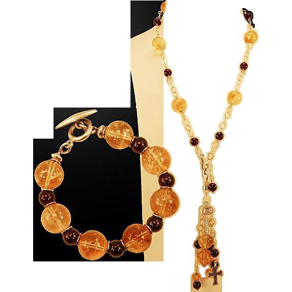 OOAK Davison High Quality Convertible Citrine, Garnet & Marcasite Necklace and Bracelet Set
