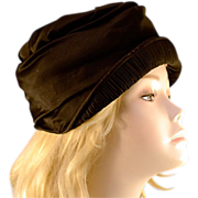ca 1920's Black Satin & Pleat Cloche Hat MASS Paris New York