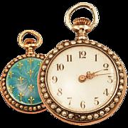 Ladies Antique 14K Rose Gold Over Sterling Pocket Watch Guilloche Enameling and Fleur de Lis .