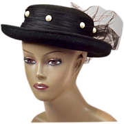 Dramatic Black Wool Church Hat