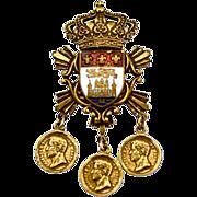 ca 1919-35 Heraldic Vintage Coro Brooch with Castle, Lion, and Fleur de Lis
