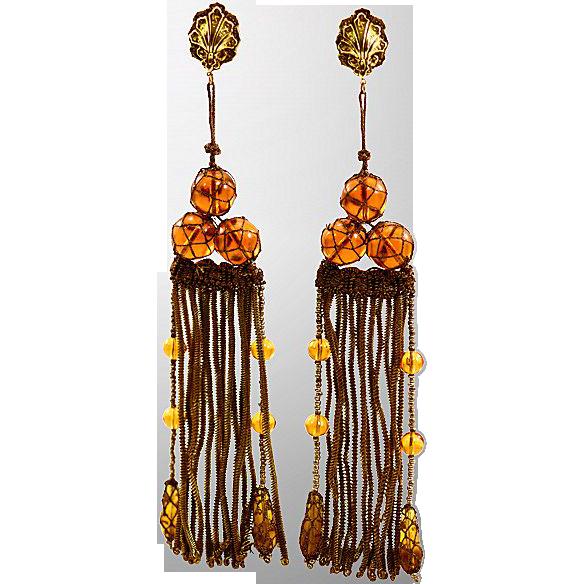 Boho Elegant Rare Hattie Carnegie Fringed Earrings with Victorian Flair