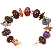 OOAK Davison Custom Art Glass Beads on Sterling Silver Cuff