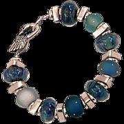 OOAK Davison Dreamy Blues Custom and Art Beads Sterling Silver Custom Clasp
