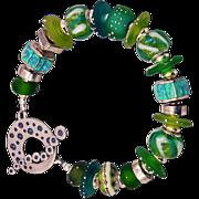OOAK Davison Bright Spring Greens Custom and Art Beads Sterling Silver Bracelet
