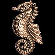 Pre 1948 Big Beautiful Sterling Silver Seahorse Brooch, Mexico
