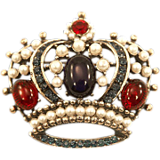 Regal Weiss HUGE Faux Pearl and Rhinestone Crown Pendant/Brooch