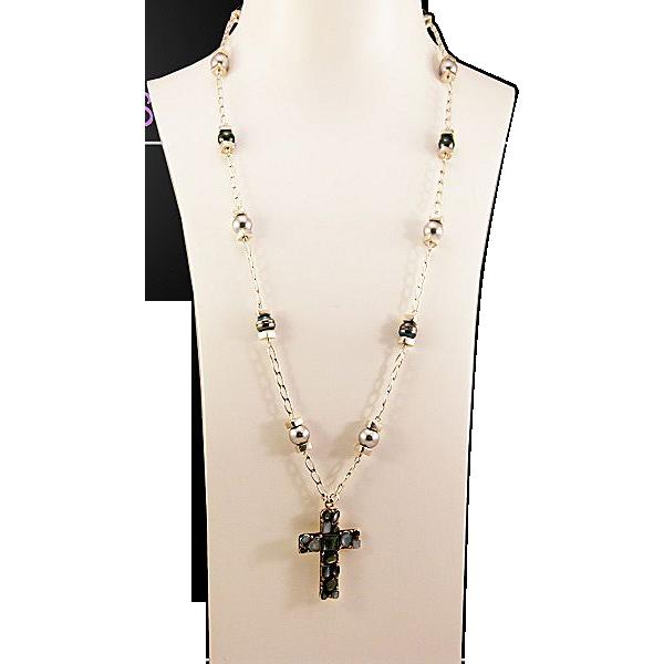 OOAK Davison Sterling, Peacock Tahitian Pearls,  Inlaid Sterling Cross Necklace