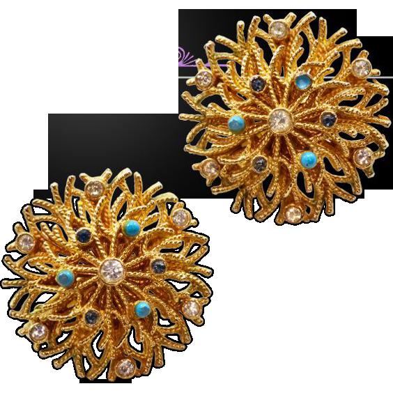 Vibrant Vintage Goldtone Corocraft Earrings