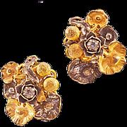 Collectible Vintage Miriam Haskell Goldtone and Nasturtium Silvertone Earrings
