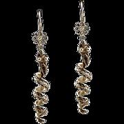 Enchanting Antique Sterling Silver .925 Snake Serpent Earrings