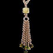 OOAK Davison Green Tourmaline, Prehnite, and Sterling Silver Necklace