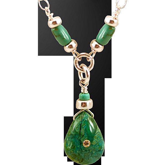 OOAK Davison Turquoise, Chrysocolla and 18K Inset Sunstone Pendant Necklace