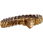 "Darling Vintage Child's 14K Gold-Filled Expandable ""Sweetheart"" Bracelet"